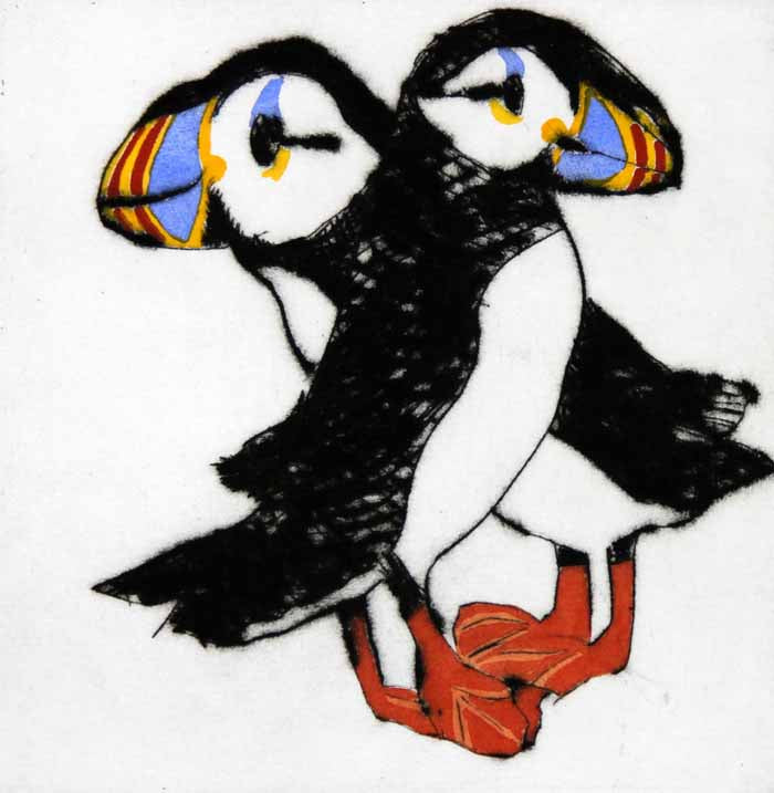Puffin Pair - Limited Edition drypoint and watercolour fine art print by artist Richard Spare
