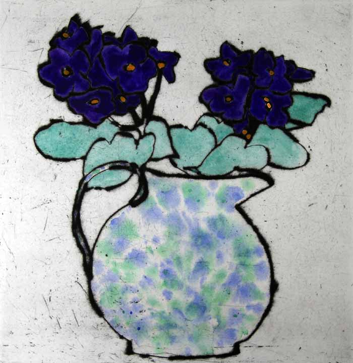 Purple African Violet - Limited Edition drypoint and watercolour fine art print by artist Richard Spare