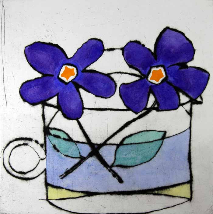 Purple Duet - Limited Edition drypoint and watercolour fine art print by artist Richard Spare