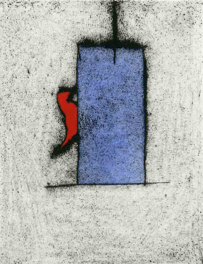 Red Bird - Limited Edition drypoint and watercolour fine art print by artist Richard Spare