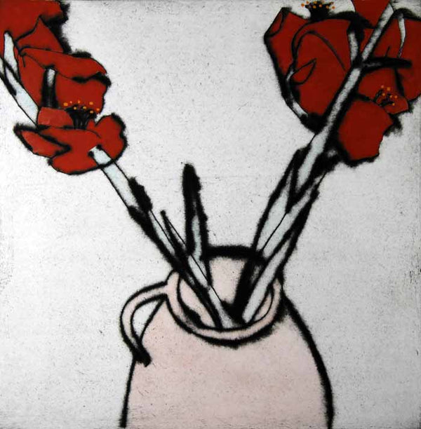 Red Gladioli - Limited Edition drypoint and watercolour fine art print by artist Richard Spare