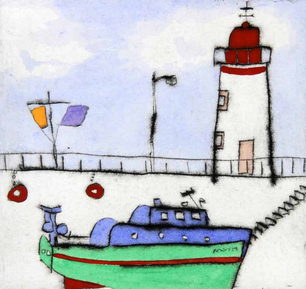 Red Lighthouse - Limited Edition drypoint and watercolour fine art print by artist Richard Spare
