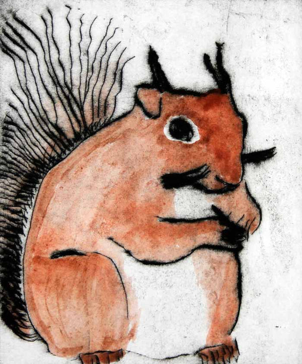 Red Squirrel - Limited Edition drypoint and watercolour fine art print by artist Richard Spare