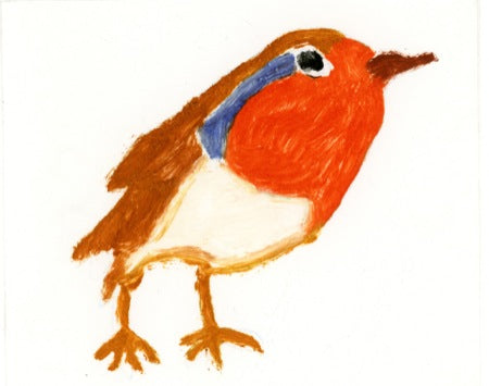 Bright Robin - Original monoprint by artist Richard Spare