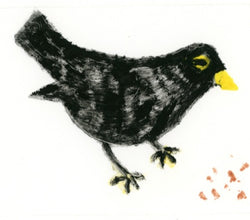 Crumbs for the Blackbird - Original monoprint by artist Richard Spare