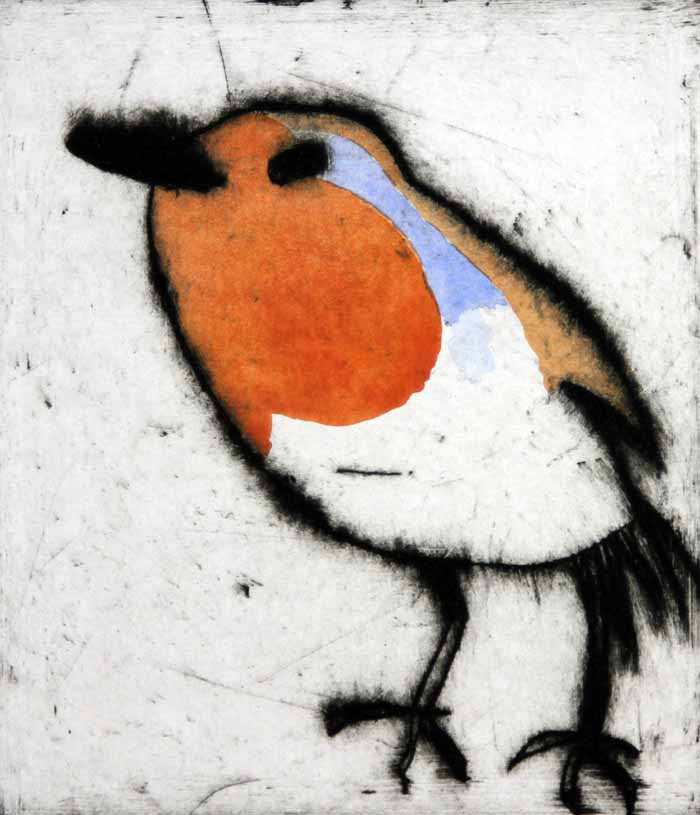 Robin - Limited Edition drypoint and watercolour fine art print by artist Richard Spare