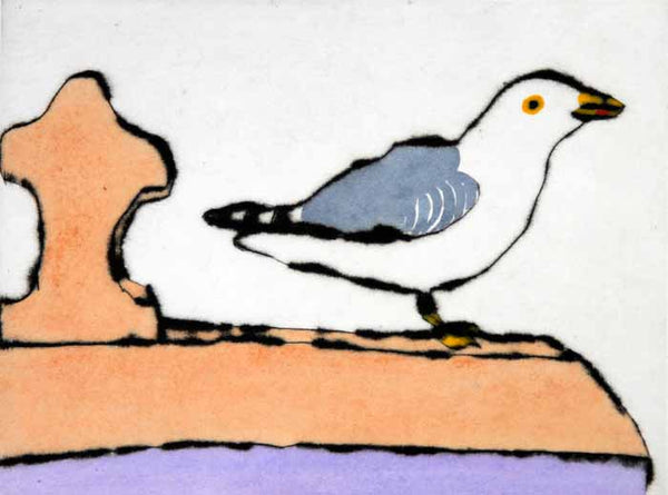 Rooftop Gull - Limited Edition drypoint and watercolour fine art print by artist Richard Spare