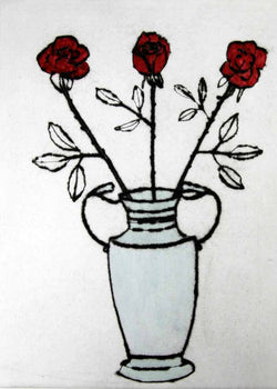 Roses - Limited Edition drypoint and watercolour fine art print by artist Richard Spare
