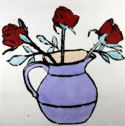 Roses in a Jug - Limited Edition drypoint and watercolour fine art print by artist Richard Spare
