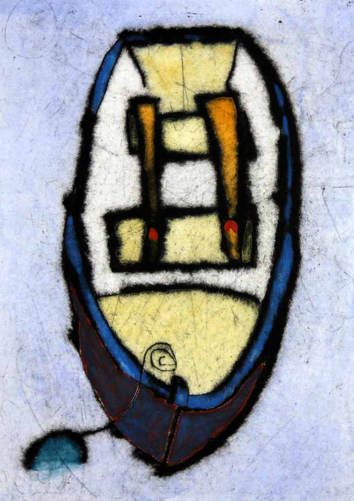 Rowing Boat I - Limited Edition drypoint and watercolour fine art print by artist Richard Spare