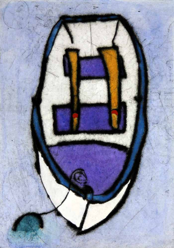Rowing Boat II - Limited Edition drypoint and watercolour fine art print by artist Richard Spare