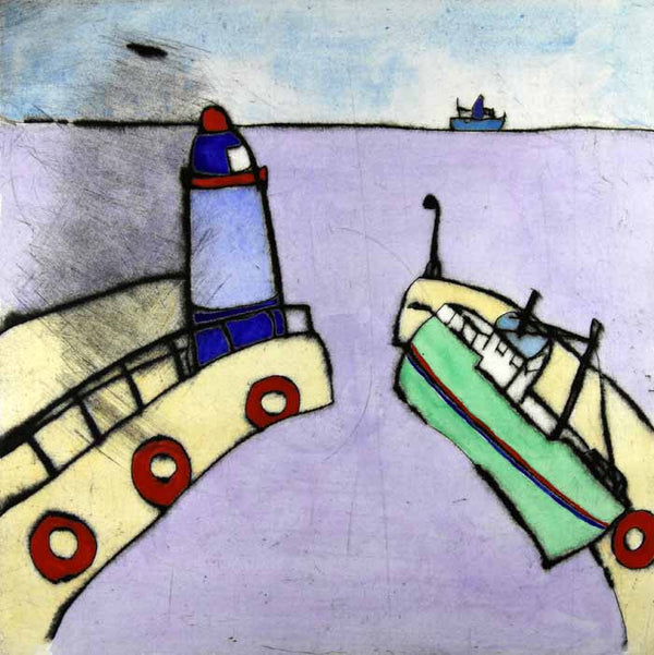 Safe Harbour - Limited Edition drypoint and watercolour fine art print by artist Richard Spare
