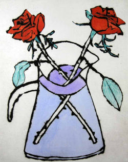 Scarlet Roses - Limited Edition drypoint and watercolour fine art print by artist Richard Spare