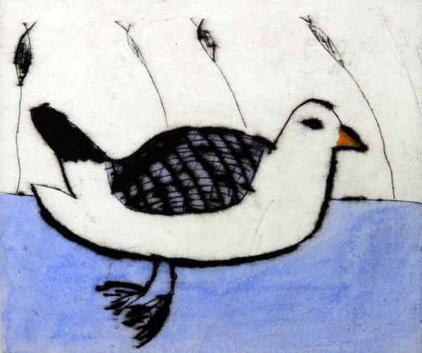 Seabird - Limited Edition drypoint and watercolour fine art print by artist Richard Spare