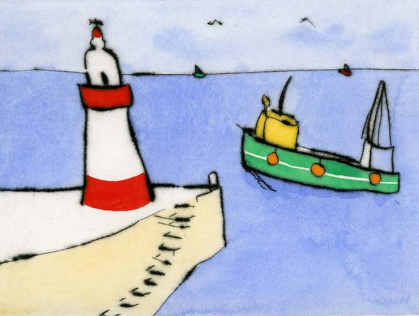 Seabound - Limited Edition drypoint and watercolour fine art print by artist Richard Spare