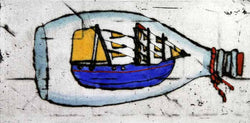 Ship in a Bottle - Limited Edition drypoint and watercolour fine art print by artist Richard Spare