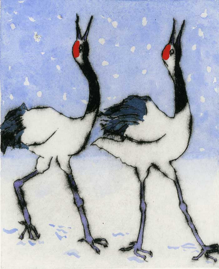 Snow Dance - Limited Edition drypoint and watercolour fine art print by artist Richard Spare