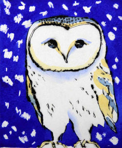 Snowy Owl - Limited Edition drypoint and watercolour fine art print by artist Richard Spare