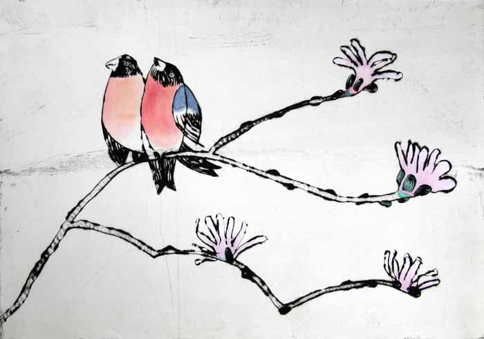 Song of Love - Limited Edition drypoint and watercolour fine art print by artist Richard Spare