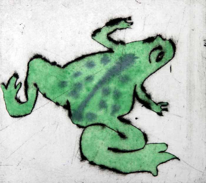 Spring Frog - Limited Edition drypoint and watercolour fine art print by artist Richard Spare