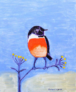 Stonechat - Original oil on board painting by artist Richard Spare