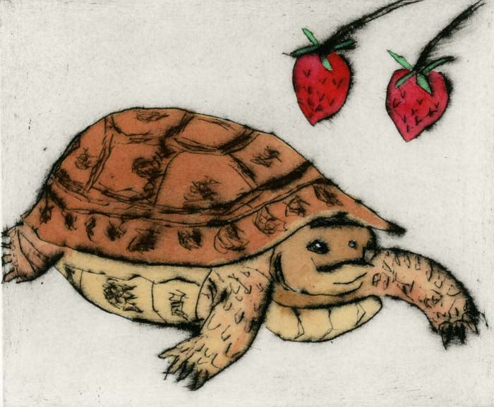 Strawberry Tortoise - Limited Edition drypoint and watercolour fine art print by artist Richard Spare