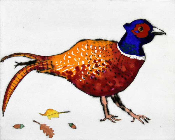 Strolling Pheasant - Limited Edition drypoint and watercolour fine art print by artist Richard Spare