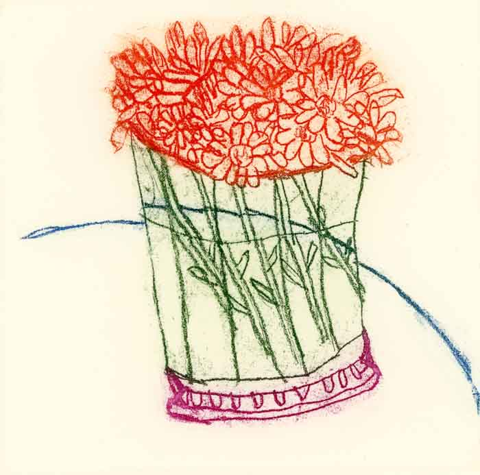 Summer Flowers - Limited Edition softground etching fine art print by artist Richard Spare