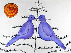 Summer Lovebirds - Limited Edition drypoint and watercolour fine art print by artist Richard Spare