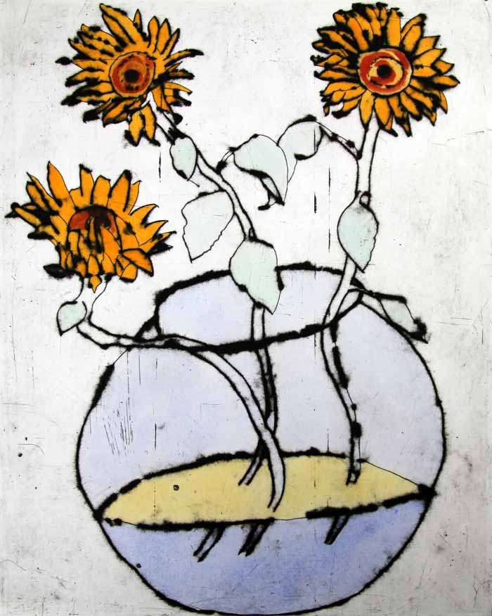 Sunflower Bowl - Limited Edition drypoint and watercolour fine art print by artist Richard Spare