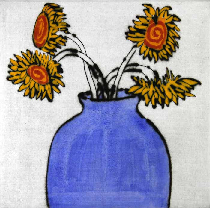 Sunflower Quartet - Limited Edition drypoint and watercolour fine art print by artist Richard Spare