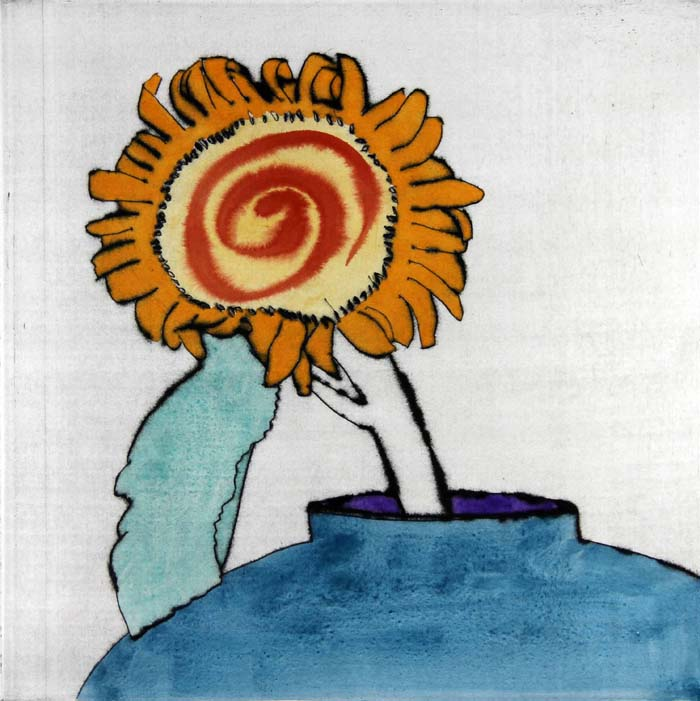 Sunflower Solo - Limited Edition drypoint and watercolour fine art print by artist Richard Spare
