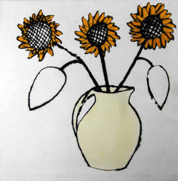 Sunflowers - Limited Edition drypoint and watercolour fine art print by artist Richard Spare
