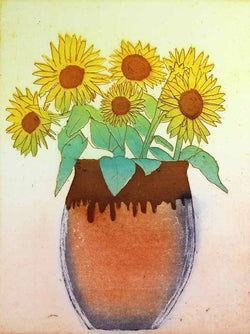 Sunflowers in a Pot - Limited Edition etching and aquatint fine art print by artist Richard Spare