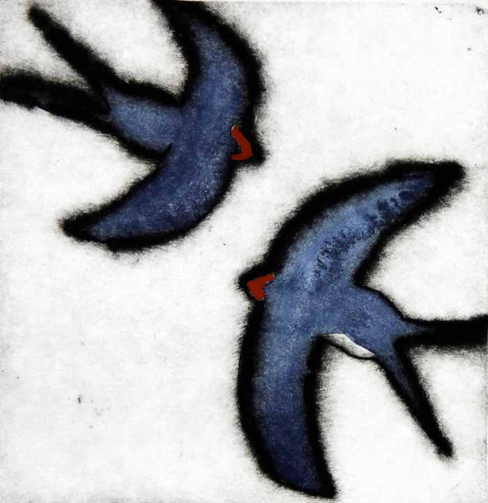 Swallows Darting - Limited Edition drypoint and watercolour fine art print by artist Richard Spare