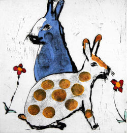 Tea Time - Limited Edition drypoint and watercolour fine art print by artist Richard Spare