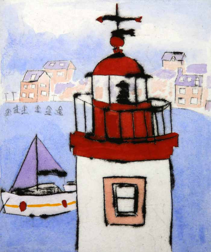 To the Lighthouse - Limited Edition drypoint and watercolour fine art print by artist Richard Spare