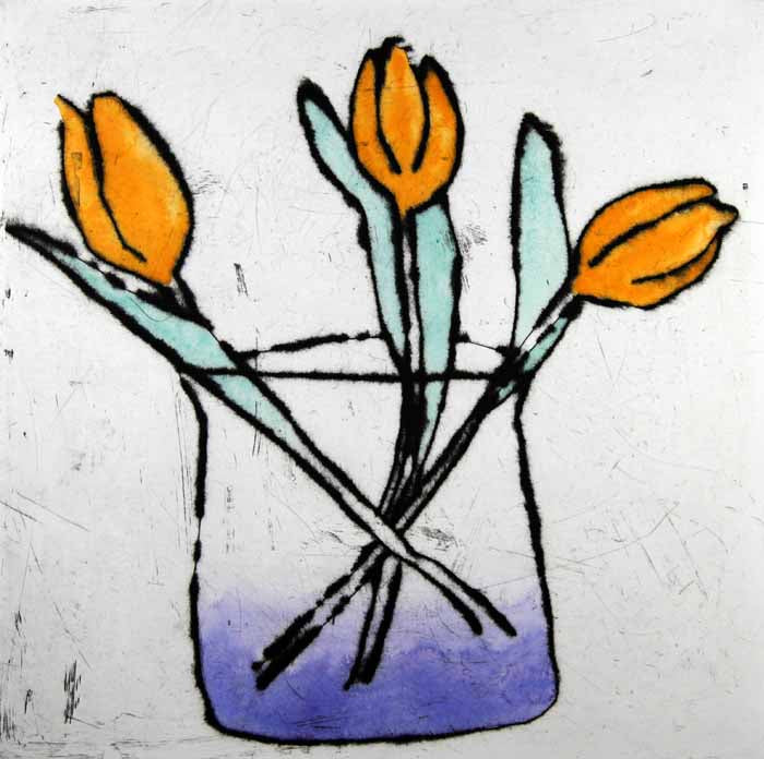 Tulip Trio - Limited Edition drypoint and watercolour fine art print by artist Richard Spare