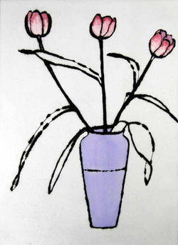 Tulips - Limited Edition drypoint and watercolour fine art print by artist Richard Spare