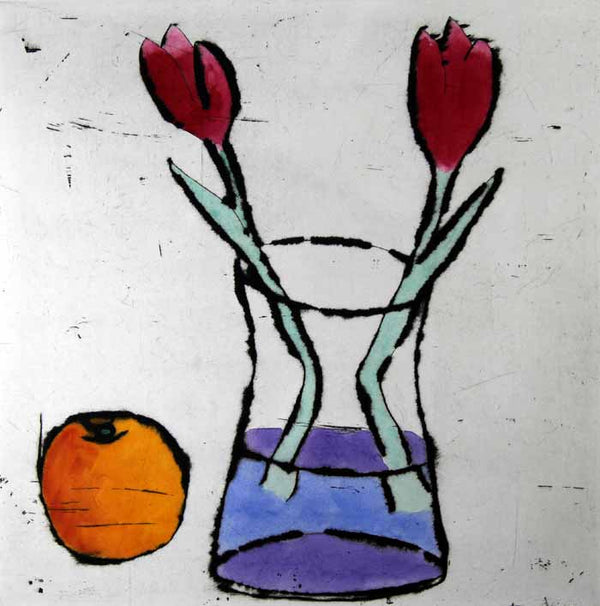 Tulips and Orange - Limited Edition drypoint and watercolour fine art print by artist Richard Spare