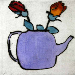 Two for Tea - Limited Edition drypoint and watercolour fine art print by artist Richard Spare
