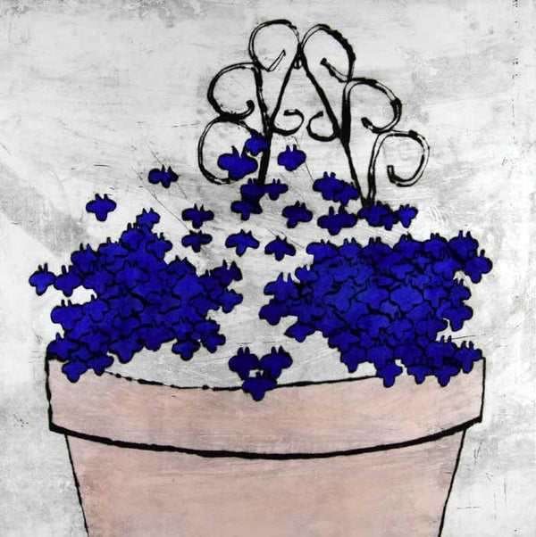 Vibrant Lobelia - Limited Edition drypoint and watercolour fine art print by artist Richard Spare
