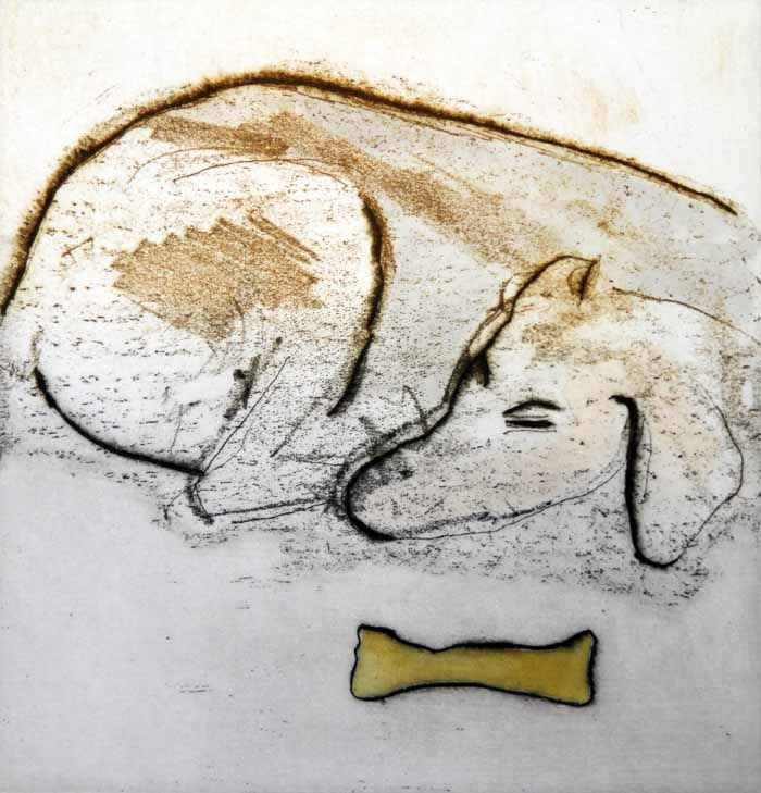 Watchful Eye - Limited Edition softground etching and watercolour fine art print by artist Richard Spare