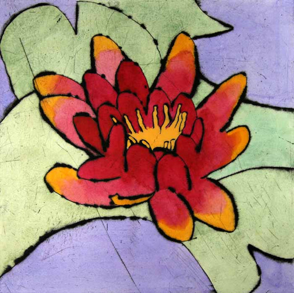 Waterlily - Limited Edition drypoint and watercolour fine art print by artist Richard Spare