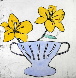 Wedgwood Vase with Lilies - Limited Edition drypoint and watercolour fine art print by artist Richard Spare