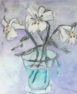 White Lilies - Original oil on canvas painting by artist Richard Spare