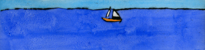 Wide Blue Sea - Limited Edition drypoint and watercolour fine art print by artist Richard Spare