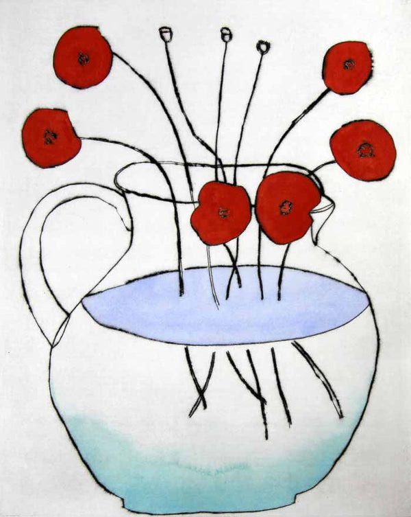 Wild Poppies - Limited Edition drypoint and watercolour fine art print by artist Richard Spare