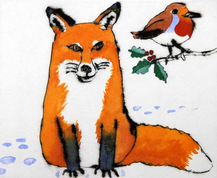 Winter Duo - Limited Edition drypoint and watercolour fine art print by artist Richard Spare