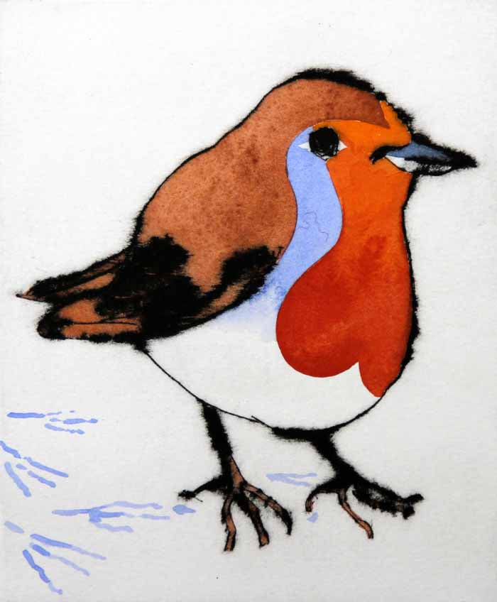 Winter Robin - Limited Edition drypoint and watercolour fine art print by artist Richard Spare